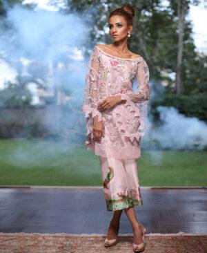 crystal pink net kimono sleeves