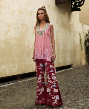 Rose pink Chantilly top & Maroon Bootcut Pant