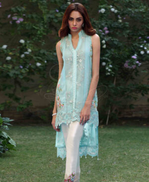 tiffany blue sherwani collar top