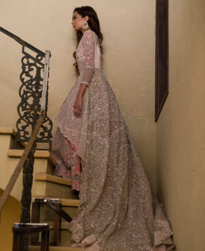 powder pink gown with pink skirt