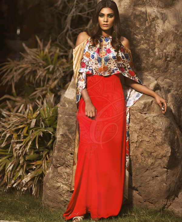 red halter gown with printed cape