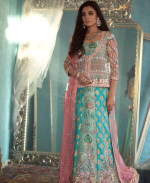 turquoise brocade blouse with banarsi lahenga