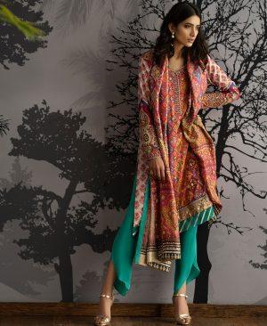 rose magenta and emerald digital printed kali kurta