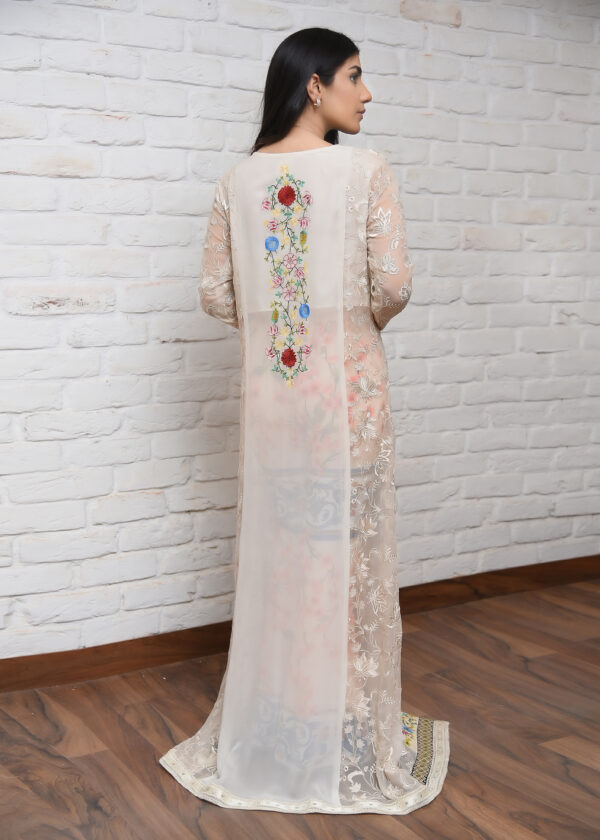 Ivory Embroidered Long Coat With Peach Printed Pants